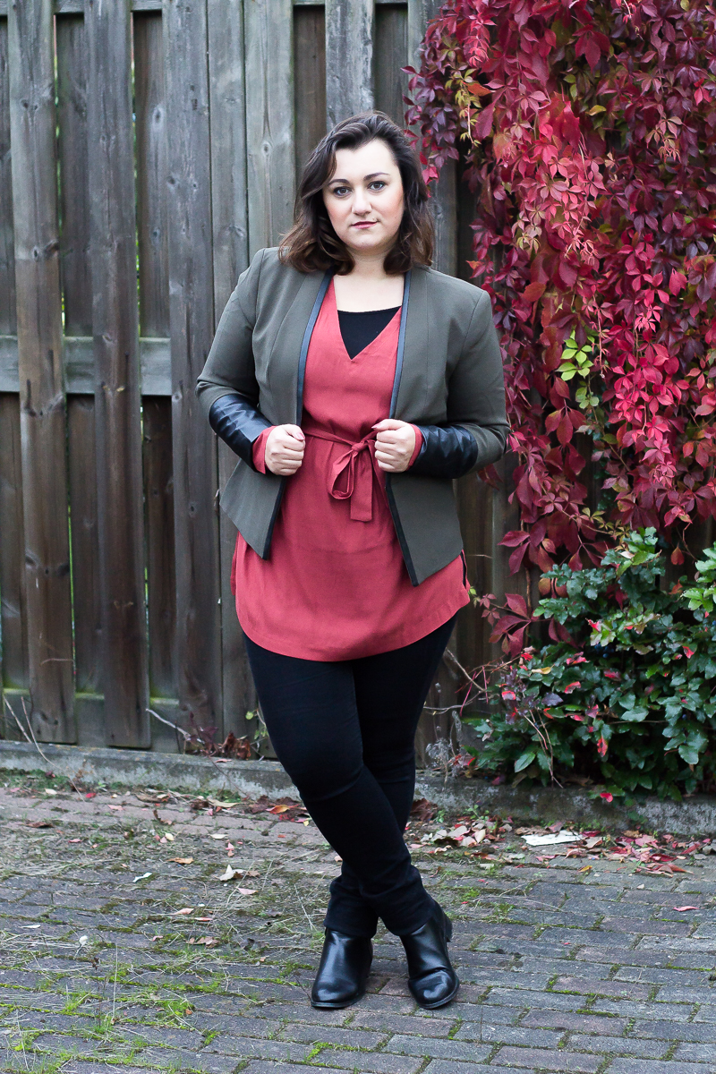 outfit,inbetweenie,mollig,plus size,hose,blaser,tunika,orange,khaki